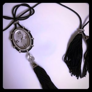 Juicy Couture Watch Pendant Necklace with Tassels